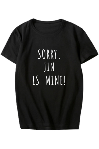 SORRY Sleeve Short Tee Round Letter Neck MINE JIN Printed IS q4pwTq7