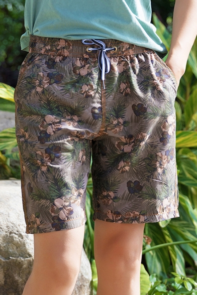 Top Rated Big Mens Brown Floral Print Swim Trunks Shorts with Drawcord and Mesh Brief