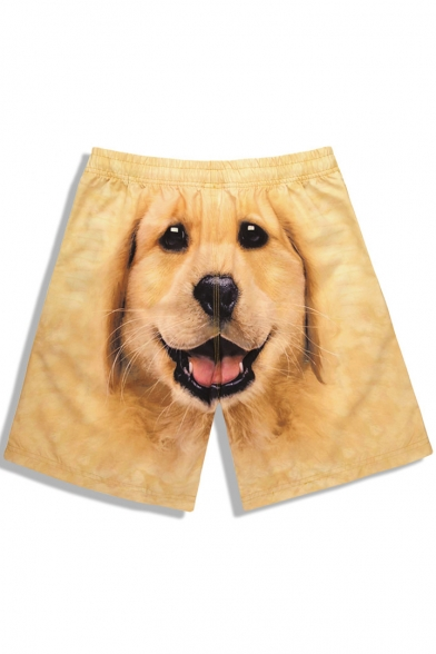 Top Rated Mens Yellow Pup Doggy Printed Trunk Bathing Suits with Drawstring