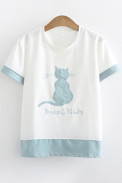 BRAZIL Tee Sleeve Cat Short Adorable Color Letter Block Summer Embroidered NUTS qEzgzvp