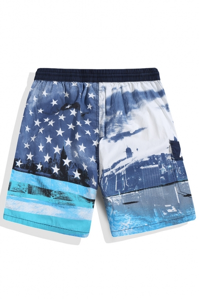 Big and Tall Fast Drying Red White and Blue Male American Drawcord Swim Trunks with Pockets without Lining