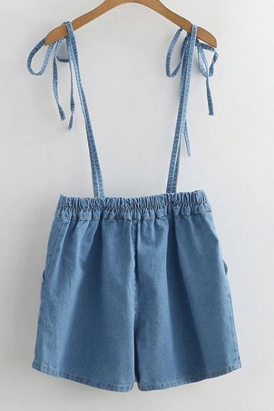 Bow Straps Elastic Waist Plain Denim Overalls Shorts