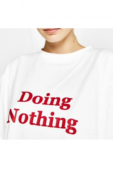 Sleeve Neck Short NOTHING Round Tee Printed DOING Letter PnYaH