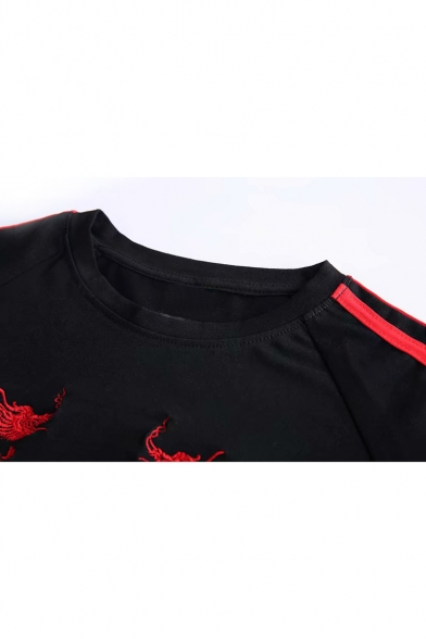 Embroidered Round Neck Sleeve Striped Dragon Short Tee Contrast qvS6fgwU