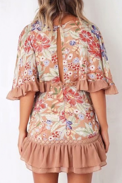 Floral Out Printed Half A V Neck Block Hollow Sleeve Dress Mini Color Line rxrqdwn8FA