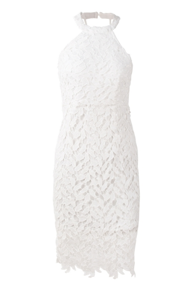 Halter Sleeveless Open Back Midi Lace Pencil Dress