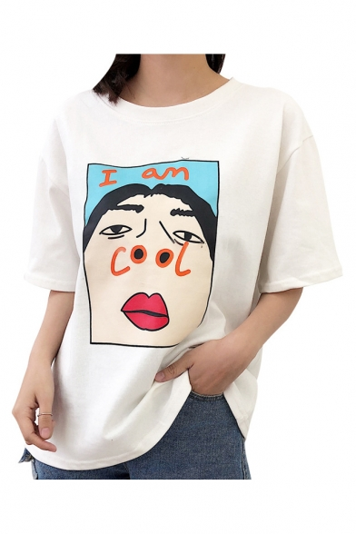 Sleeve COOL Printed Neck I Character AM Tee Short Round AqZpz6vw