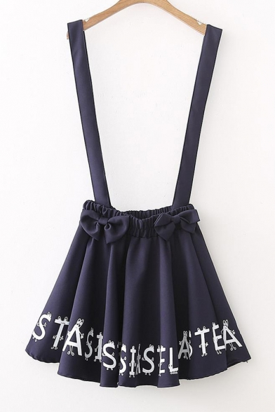 Letter Printed Bow Embellished Mini Overall Skirt