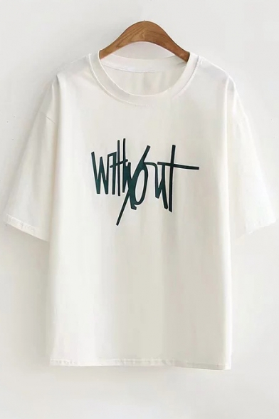 Round Printed Short Neck Tee Sleeve Letter C5vxw6x