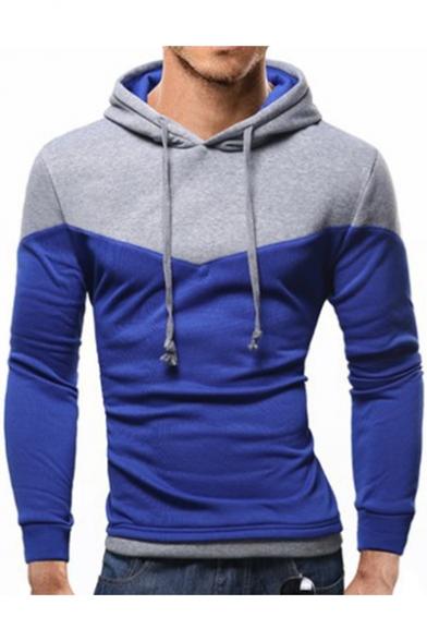 Men's Slim Color Block Long Sleeve Hoodie