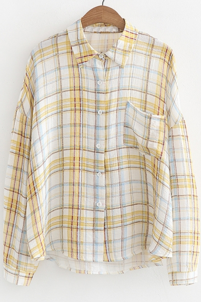 Shirt Plaid Collar Front Pocket Long Sleeve Single Stand 00wqr5v
