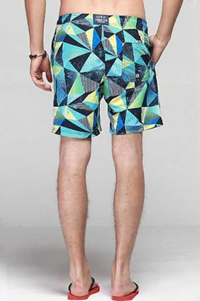Pop Quick Drying Turquoise Geometric Swim Trunks for Guys with Mesh Lined Pockets