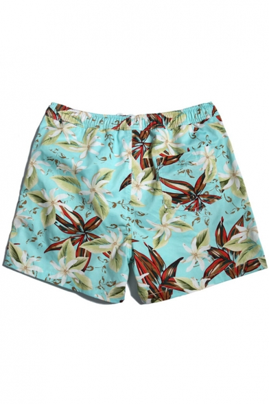 Popular Fast Drying Bright Blue Floral Tropical Print Swim Trunks with Mesh Liner