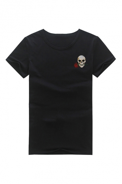 Short Floral Sleeve Embroidered Skull Round Neck Tee qTnwxCBn1v