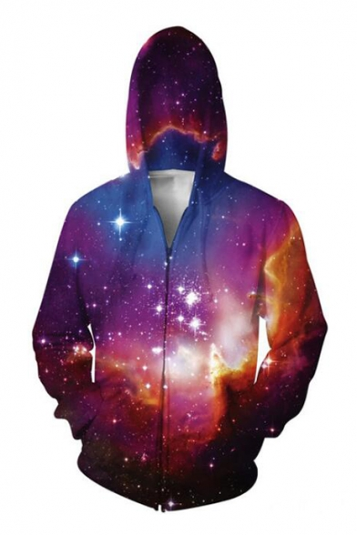 Starry Sky Pattern Zipper Long Sleeve Hoodie