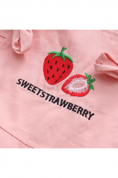 Strawberry Letter Embroidered Bow Tied Detail Overall Jumpsuit
