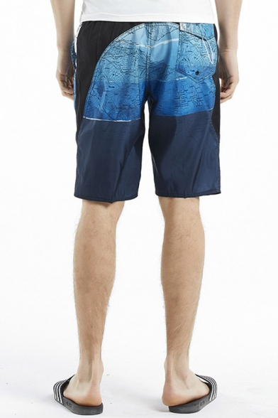 Unique Fast Dry Blue Map Color Block Printed Swimming Shorts with Drawcord and Pockets