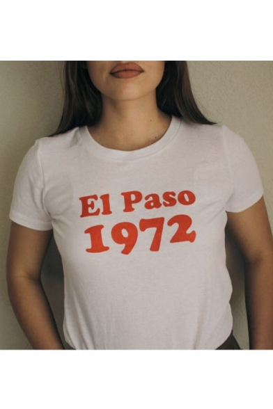 Image of 1972 Letter Printed Round Neck Short Sleeve Tee