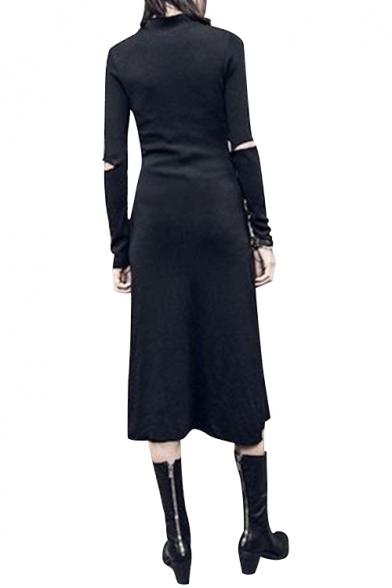 Cut Out Detail Long Sleeve Plain Round Neck Split Front Maxi Asymmetric Hem Dress