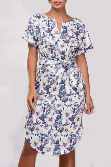 Sleeve Neck Printed Midi Dress A Waist Floral Line Tied V Short B0EwxqI