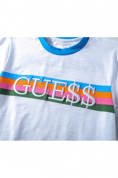 Guess Letter Printed Stripes Round Neck Short Sleeve Color Block Hem Tee