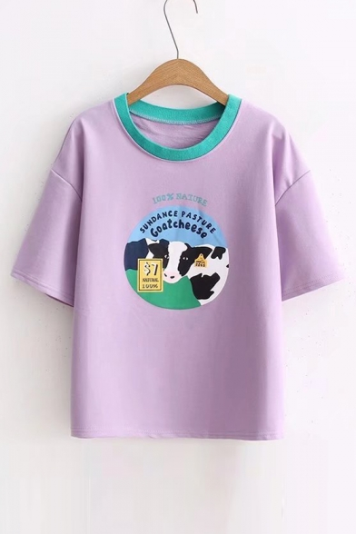 Round Short Printed Tee Contrast Cow Sleeve Letter Neck Xtn8pwA