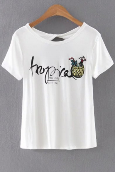 Sleeve Out Printed Pineapple Neck Back Hollow Round Short Tee Letter qaAOZfx