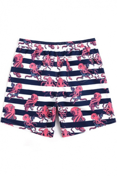 Mens Navy and White Striped Octopus Bathing Suits with Lining and Pockets