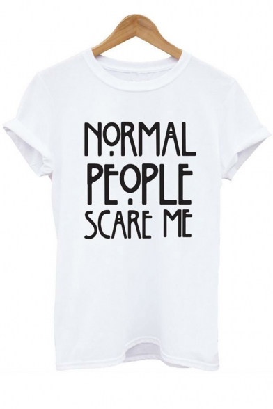 NORMAL Short Neck Sleeve Tee ME PEOPLE Printed Round SCARE Letter a0RW7aqwvr