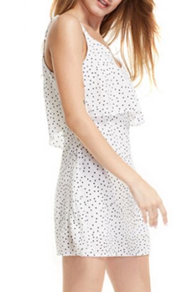 Dress A Line Cami Dot Mini Printed Polka Straps Sleeveless Spaghetti xzFRcw6q