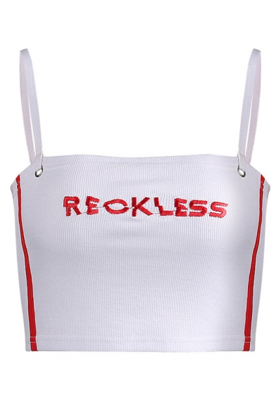 Straps Embroidered Sleeveless RECKLESS Letter Spaghetti Cami Crop Contrast Striped Zv11wAqX