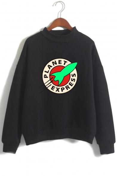 Rocket Letter Printed High Neck Long Sleeve Sweatshirt