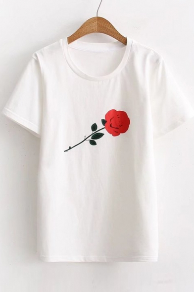 Short Neck Leisure Tee Round Printed Rose Sleeve B1qP4Px