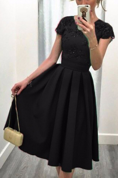 Sequined Lace Insert Hollow Out Back Round Neck Short Sleeve Midi A-Line Dress