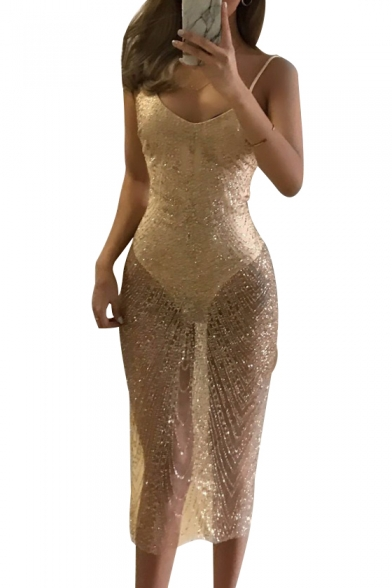 Sequined Spaghetti Straps Sleeveless Slim Maxi Party Dress