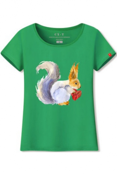 Short Round Sleeve Tee Neck Printed Squirrel pwx7ZTqCp