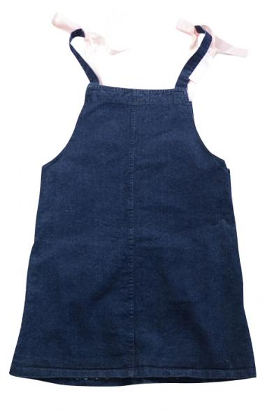 Straps Panel Lace Hem Pockets Button Side Overall Dress