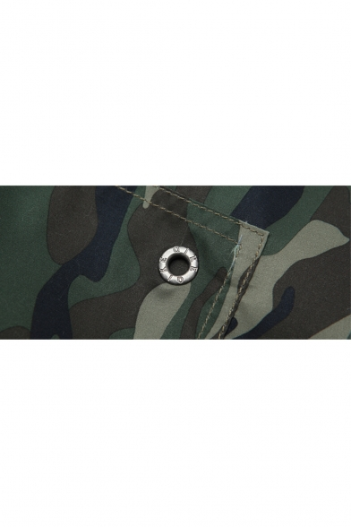 Stretch Drawstring Green Camo Swim Shorts with Back Hook and Loop Pockets and Drain Hole