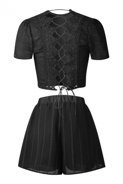 Up Back Striped Hollow with Neck Out Short Shorts Round ords Printed Elastic Sleeve Lace Co XqwUwxI4