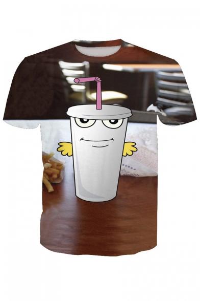 Sleeve Round Neck Drink Short Printed Tee 3D z4UqfU