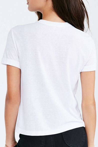 Banana Letter Embroidered Round Neck Short Sleeve Tee