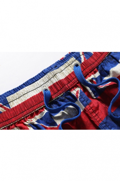 Best Designer Blue Mens Drawstring Flag Swimming Trunks UK with Pockets without Lining