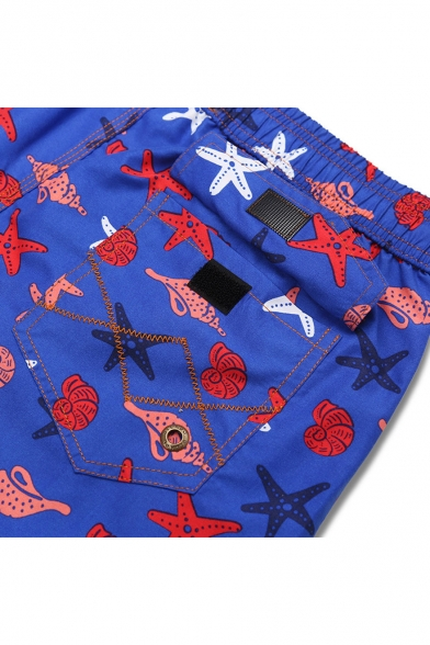 Big and Tall Blue Starfish Shell Printed Elastic Funny Swimming Shorts with Pockets and Liner