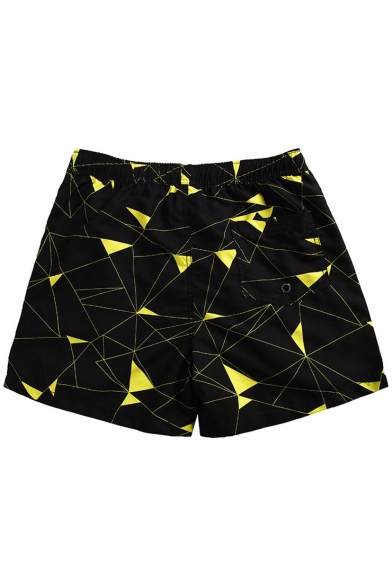 Black Geometric Pattern Short Drawcord Swim Trunks with Hook and Loop Pockets