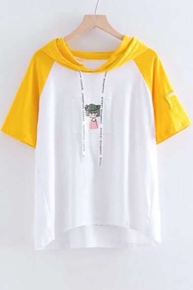 Sleeve Color Block Girl Letter Hooded Tee Short Printed 4RX4qA