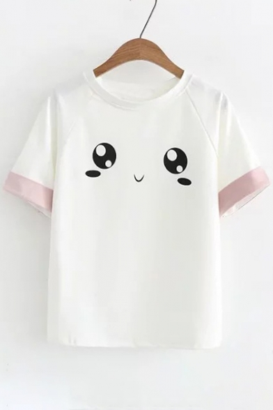 Printed Round Eyes Tee Sleeve Neck Cute Color Block Short UxzwPw