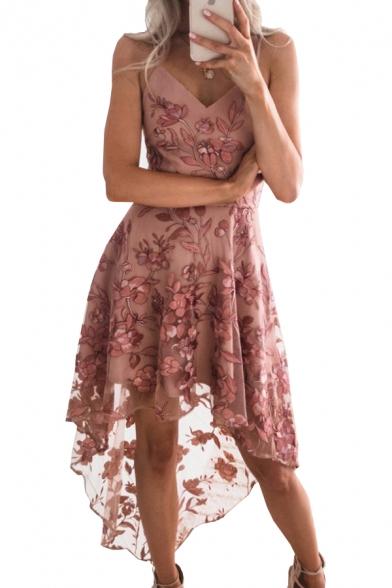 Floral Embroidered Mesh Insert Spaghetti Straps Sleeveless Midi Asymmetric Hem Dress