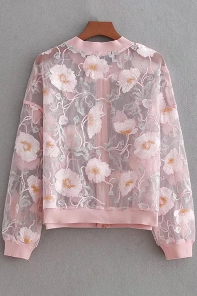 Embroidered Cropped Floral Coat Long Sleeve Sheer Front Zipped 7Rwdxqf
