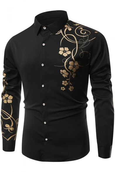 Collar Long Sleeve Floral Slim Shirt Printed Lapel g6wqgET