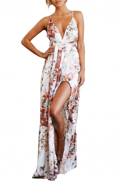 Front Open Spaghetti Beach Split Maxi Floral Straps Printed Dress Back 6ftYWwBq
